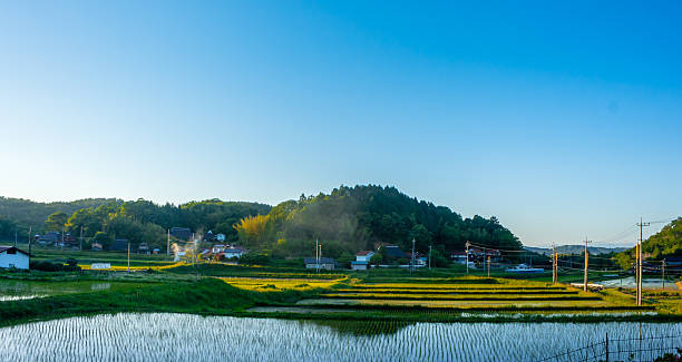 japanese countryside - satoyama scenery stock photos and pictures