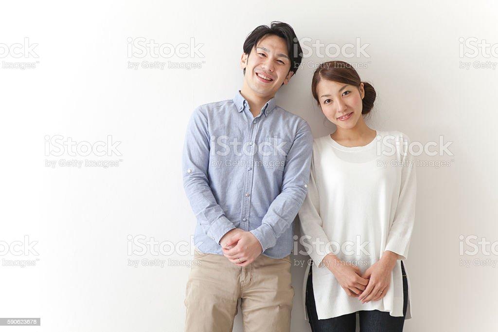 Japanese couple smiling stock photo