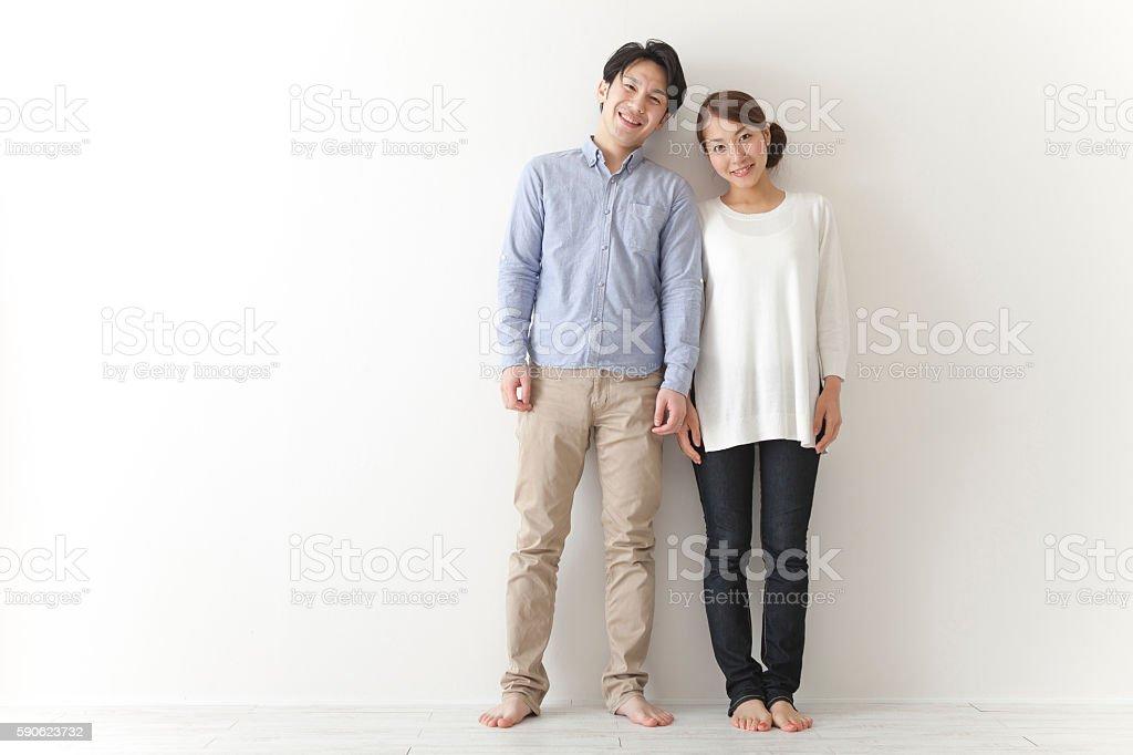 Japanese couple smiling ストックフォト