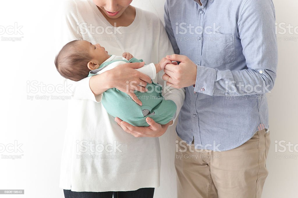 Japanese couple with child stock photo
