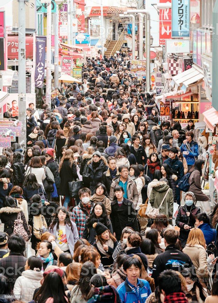 Japanese Crowd stock photo