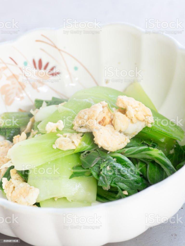 Japanese cuisine, boiled bok-choy and egg stock photo