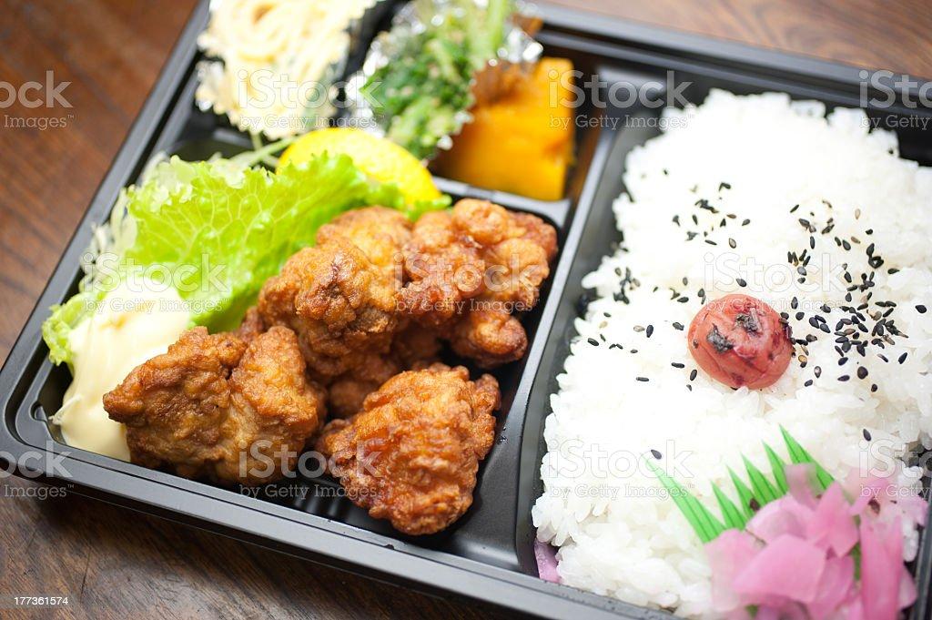 Japanese Cuisine Chicken Karaage Bento stock photo