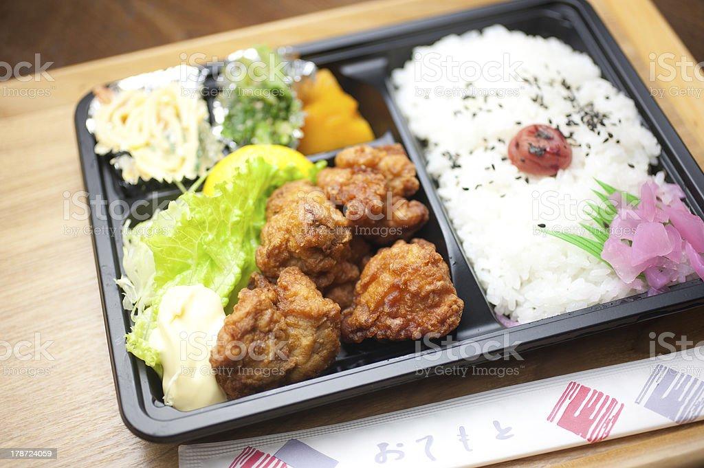 Japanese Cuisine Chicken Karaage Bento (唐揚げ弁当) stock photo