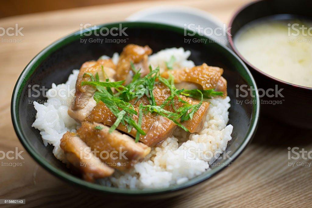 Japanese Cuisine Chicken teriyaki  Bowl(鶏の照り焼き丼) stock photo