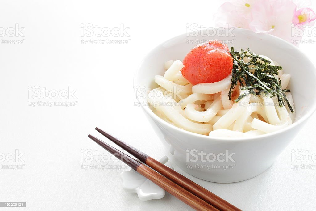 japanese cuisine, Mentaiko and Nori Udon noodles royalty-free stock photo