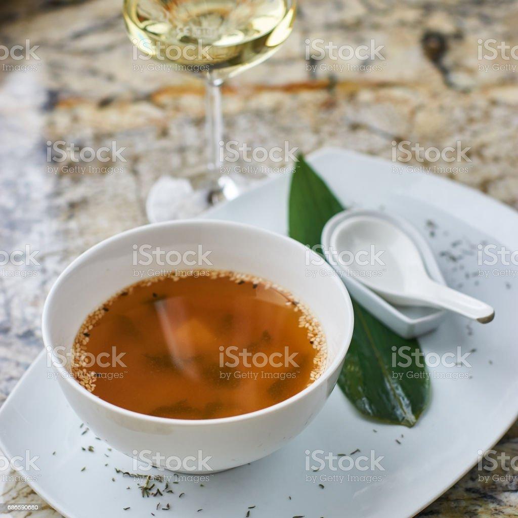 Japanese cuisine. Miso soup stock photo