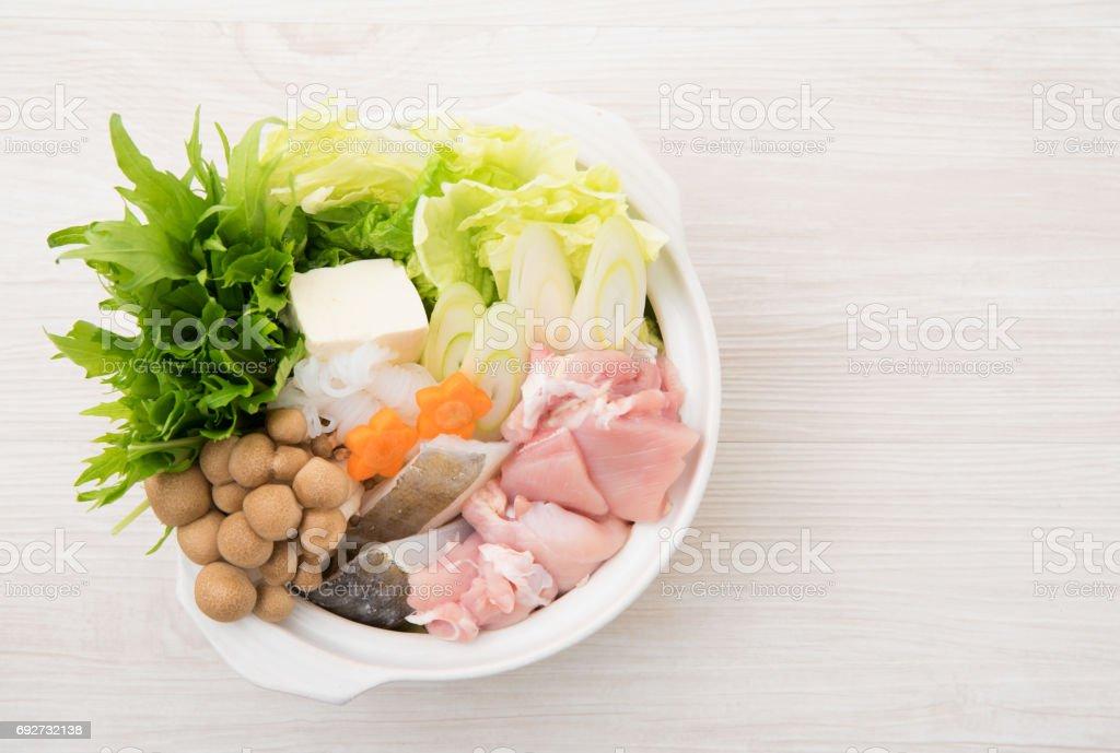 Japanese cuisine, mizutaki stock photo
