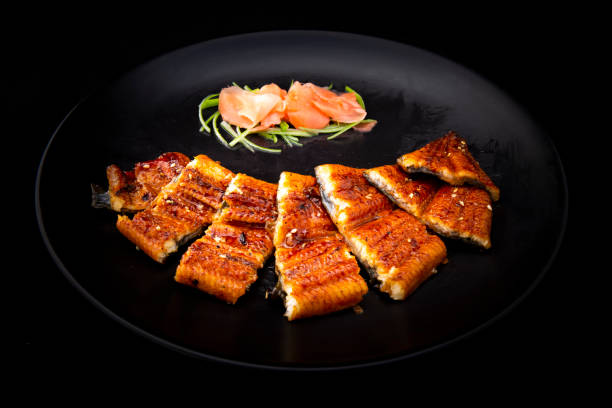 Japanese cuisine of Grilled eel stock photo