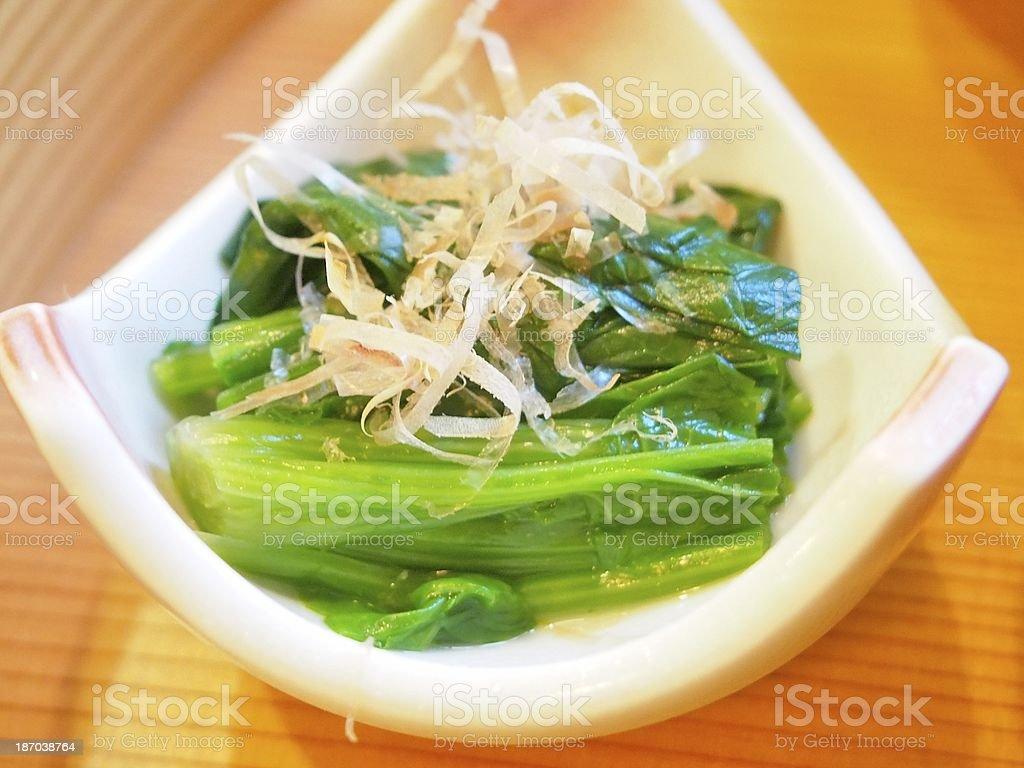 Japanese Cuisine 'Ohitashi' royalty-free stock photo