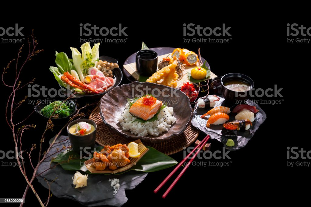 Japanese cuisine Japanese cuisine offers an abundance of gastronomical delights. Asia Stock Photo