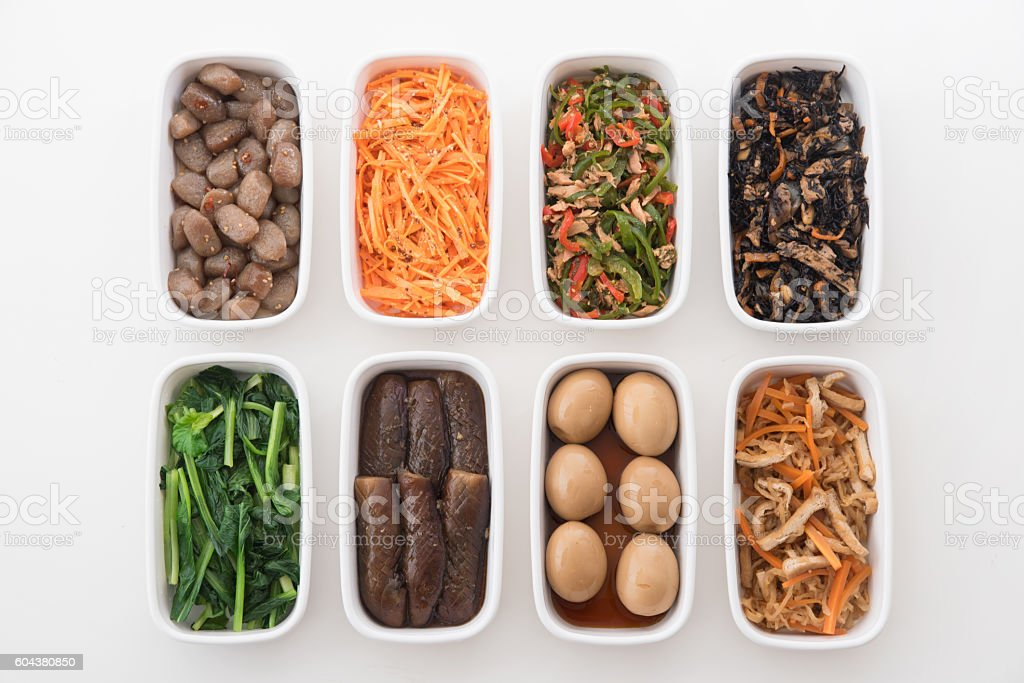 Japanese cuisine, pre-prepared ingredients - foto de acervo