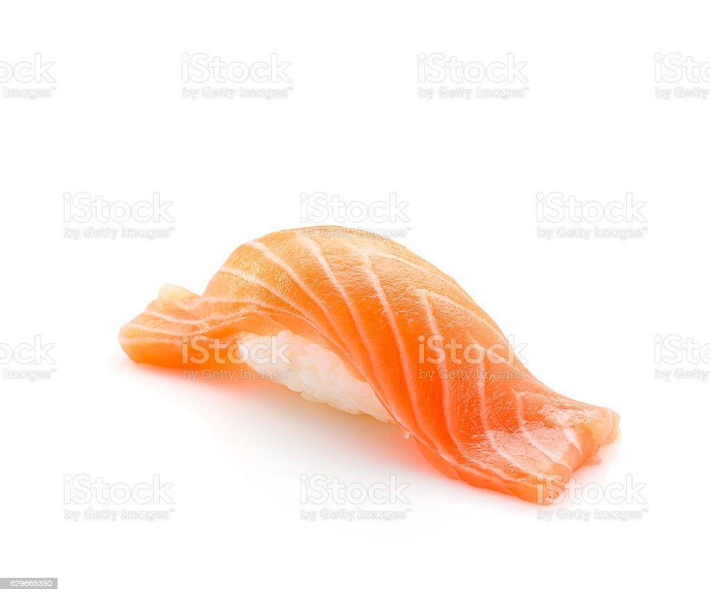 Japanese cuisine. Salmon sushi nigiri isolated on white background. stock photo