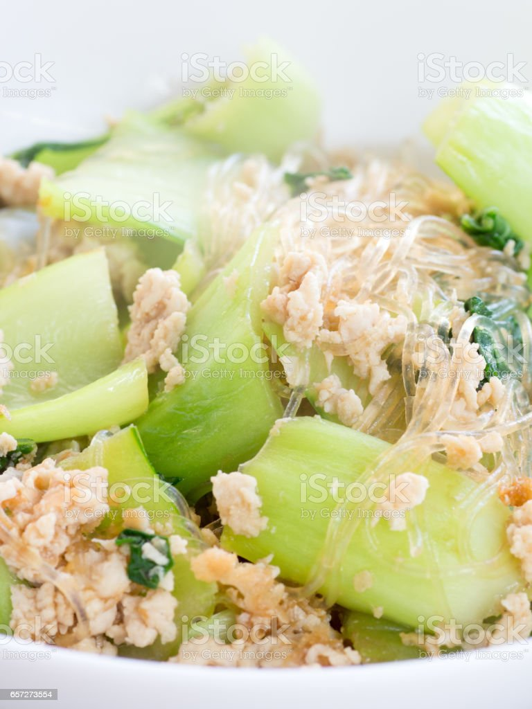 Japanese cuisine, simmered bok-choy, minced chicken breasts and bean starch vermicelli stock photo