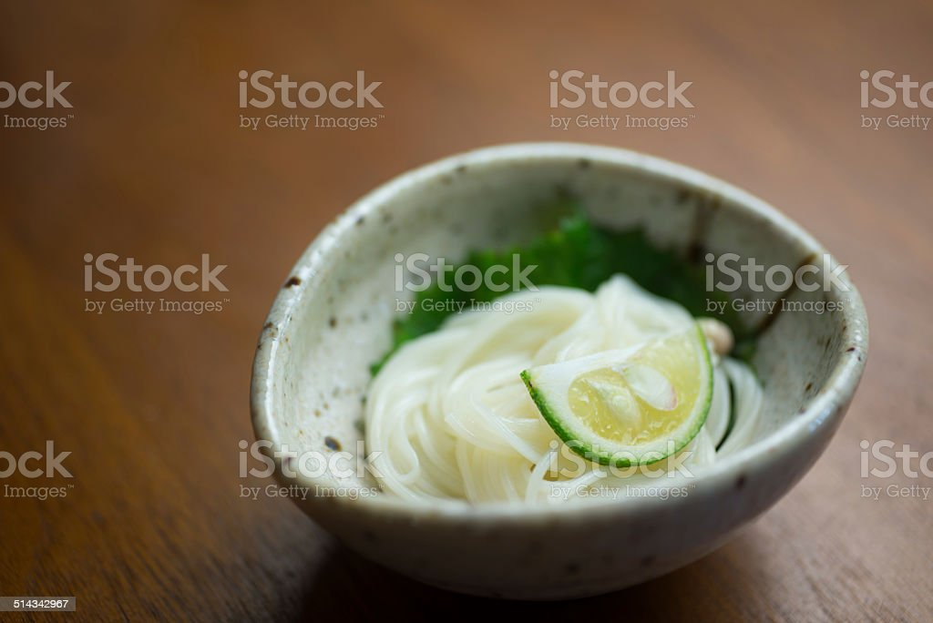 Japanese Cuisine  Somen noodle stock photo
