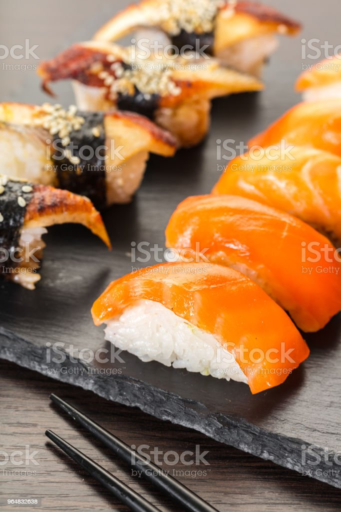japanese cuisine, sushi set on a board royalty-free stock photo
