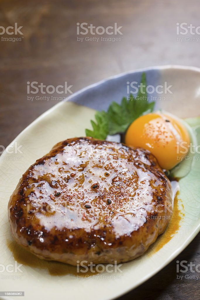 Japanese Cuisine Tsukune (月見つくね,chicken meatballs) royalty-free stock photo