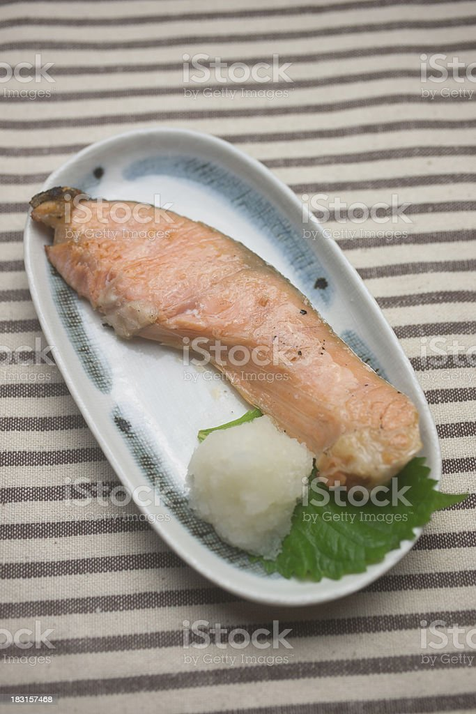 Japanese Cuisine Yakizakana (Sio-Zyake,Salted salmon) royalty-free stock photo