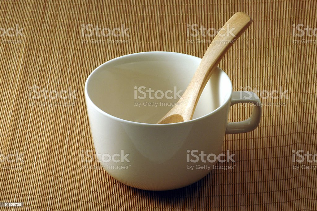 Japanese Cup and Wooden Spoon royalty-free stock photo