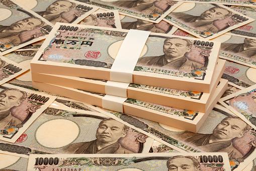 Stack of 1 million Japanese yen