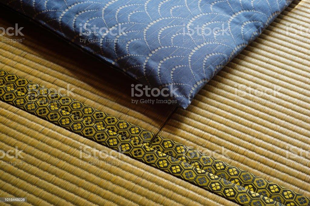 Japanese cushion and japanese carpet.