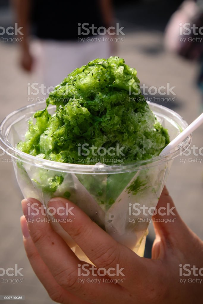 Japanese dessert Kakigori Uji-Kintoki with Matcha stock photo