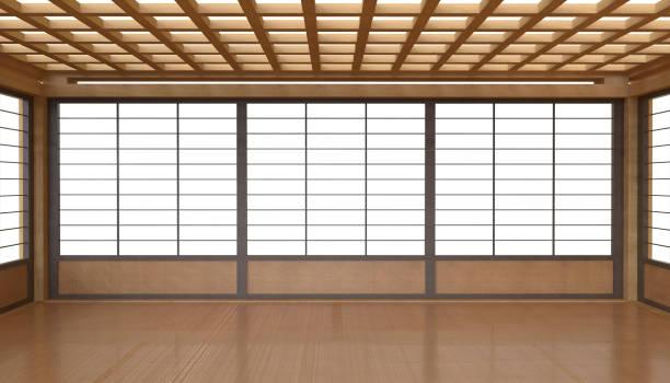 日本語光の白い背景の上の部屋とフローリング スペースを表示します。 - 畳 ストックフォトと画像