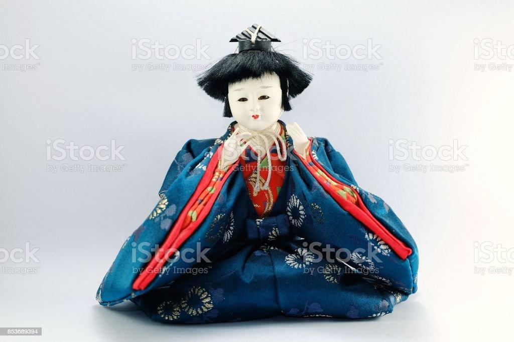 Japanese Doll white isolated. stock photo