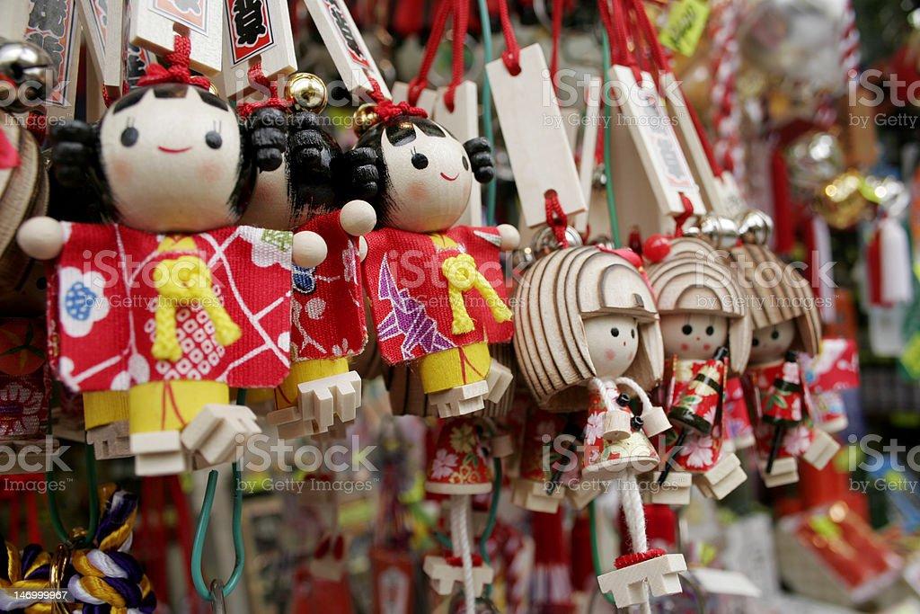 Japanese Dolls on key rings stock photo