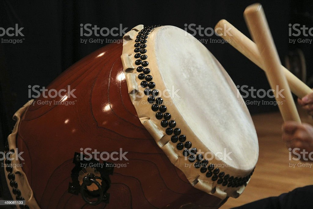 Japanese drum and stick stock photo