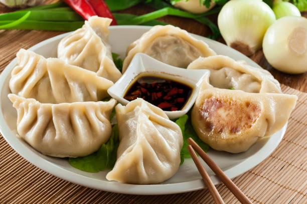 japanese dumplings - gyoza with pork meat and vegetables - dumplings stock photos and pictures