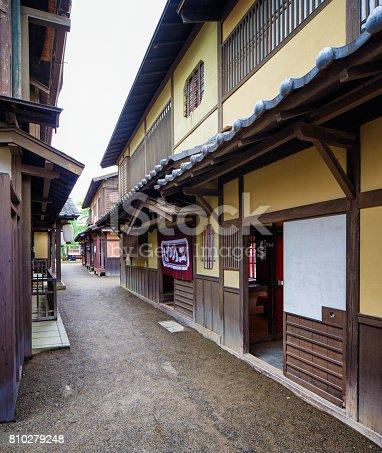 Japanese Edo village narrow street movie set at Toei Studios Kyoto on an overcast day.
