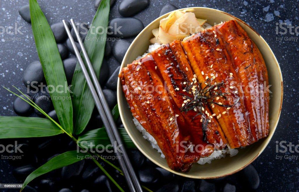 Anguille japonaise grillé avec du riz ou Unagi don. - Photo