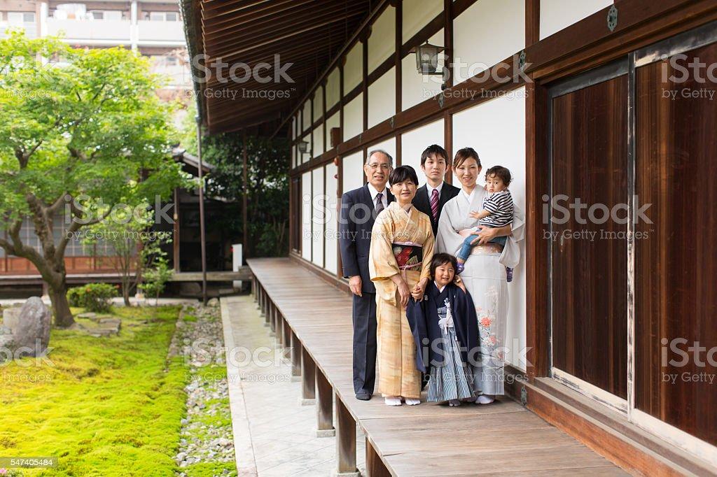 Japanese Family at Chion-ji Temple Celebrating Shichigosan stock photo