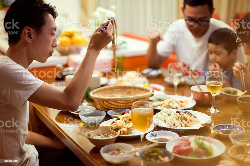 Japanese Family Dinner stock photo