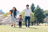 A Japanese family is happily enjoying their time in a public park in spring.