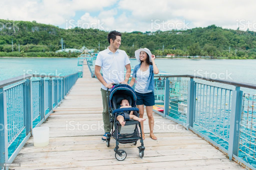 Japanese family having a pier and enjoying watching the sea in Guam - Royalty-free 30-34 Years Stock Photo
