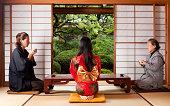 Japanese family having a tea time, Tokyo, Japan.