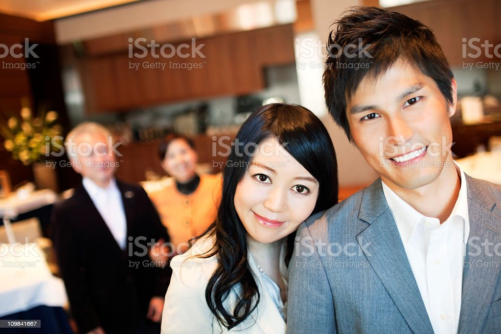 Japanese Family in a restaurant royalty-free stock photo
