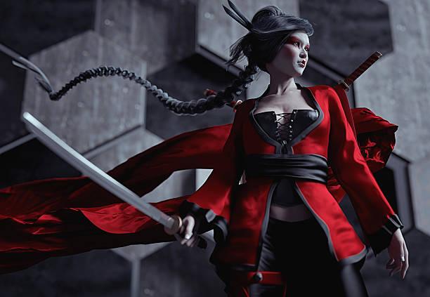 japanische weibliche ninja krieger zeichen mit kabuki-make-up - ninja krieger stock-fotos und bilder