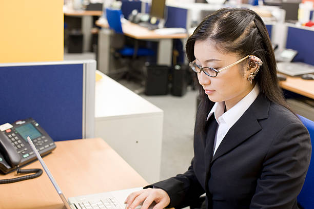 Japanese female office worker stock photo