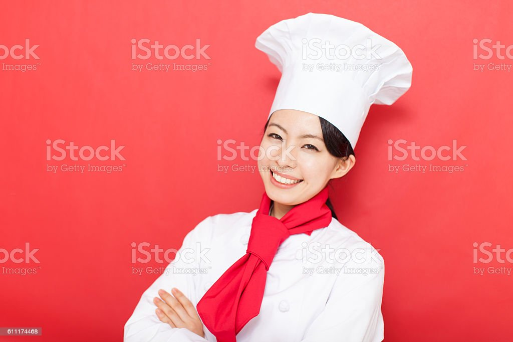 Japanese female pastry chef stock photo