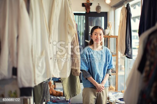 istock Japanese Female Resale Shop Owner in her Store 635685122