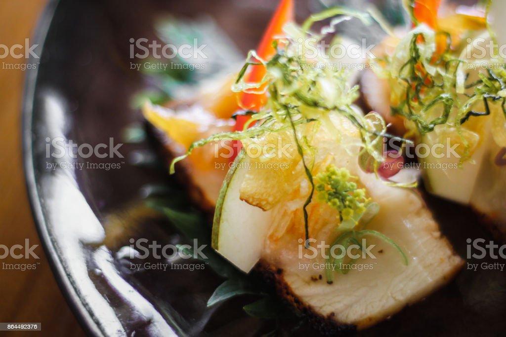 Japanese Fine Dining Hamachi Dish stock photo