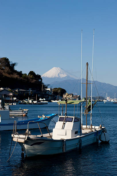 Japanese fishing boats with Mt. Fuji in the background stock photo