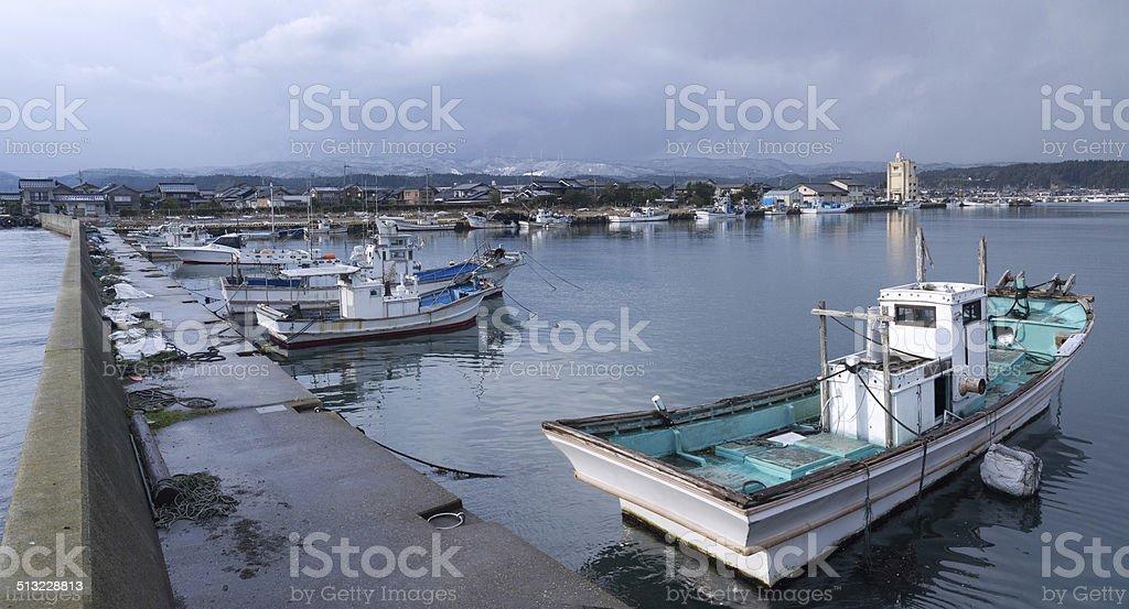 Japanese fishing port stock photo