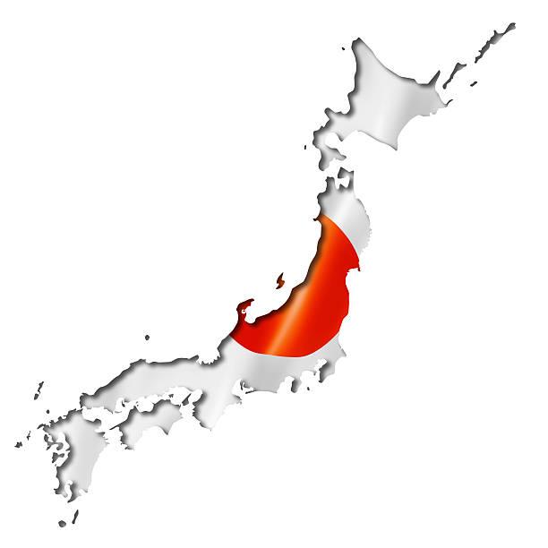 Mapa bandera japonesa - foto de stock