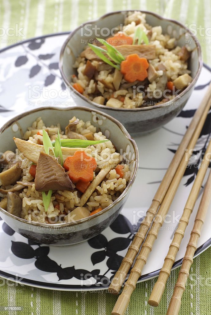 Japanese flavored rice with mushroom, bamboo shoots royalty-free stock photo