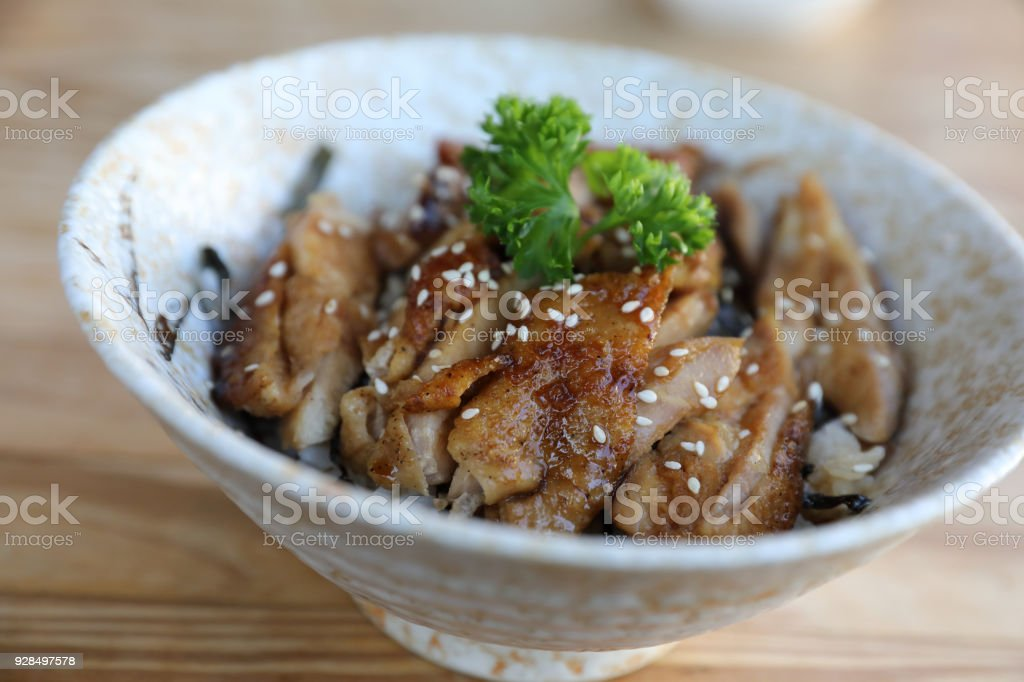 Japanese food chicken teriyaki with rice on wood background stock cooking restaurant japan thailand backgrounds japanese food chicken teriyaki forumfinder Gallery