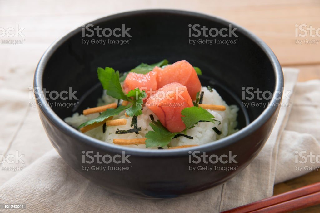 Japanese food : Cod roe boiled rice in tea stock photo